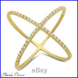 0.60 CT Criss Cross Design Ring Band Round Cut Designer Solid 14k Yellow Gold