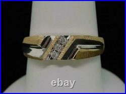 10K Two Tone Gold Over Round Diamond Men's Wedding Band 7mm Channel Set Ring 2Ct