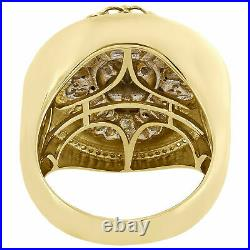 10K Yellow Gold Over Lion Face Diamond Round 24mm Frame Pave Band Pinky Ring 2CT