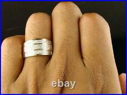 10k Mens Yellow Gold Round Cut Engagement Wedding Band Ring 12 MM. 65 Ct
