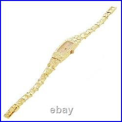 10k Yellow Gold Nugget Link Wrist Band with Geneve Diamond Watch 6.5-7 19.8g
