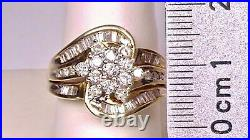 10k Yellow gold Over 2 ctw Baguette Round Diamond Anniversary Wedding Band Ring