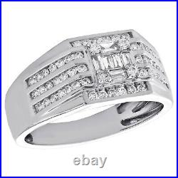 14K White Gold Over Baguette & Round Diamond Cluster Wedding Band Pinky Ring 2CT