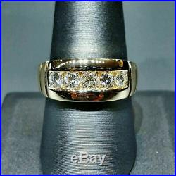 14K Yellow Gold Over 2.00 Ct Diamond Engagement Wedding Band Ring For Men's