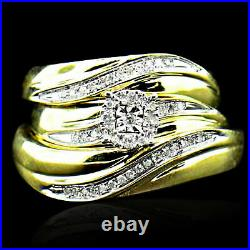14K Yellow Gold Over Diamond Trio Set His Hers Ring Wedding Band 0.35 ct