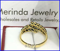 14k Solid Yellow Gold Cute Cluster Ring, Natural Sapphire, Sz 7.5. 2.45 Grams