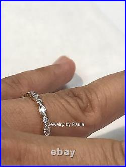 14k Solid Yellow Gold Diamond Eternity Band Stackable Ring Endless Wedding Band