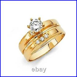14k Solid Yellow Italian Gold Wedding Band Bridal Solitaire Engagement Ring Set