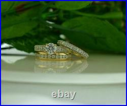 14k Yellow Gold Finish Trio Ring Set His And Hers Diamond Engagement Bridal Band
