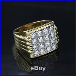 14k Yellow Gold Over 3.05 Ct Round Cut Diamond Wedding Engagement Ring For Men's