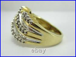 1.00Ct Round Cut VVS1 Diamond 14K Yellow Gold Over Cluster Wedding Band Ring
