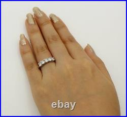 1.00 Ct 14K Real White Gold Five 5 Stones Round Wedding Anniversary Ring Band
