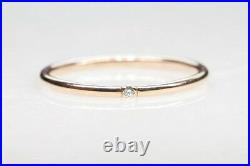1.3MM Dainty Diamond Ring. Thin Simple Minimalist Stackable 14K Gold Promise Ring