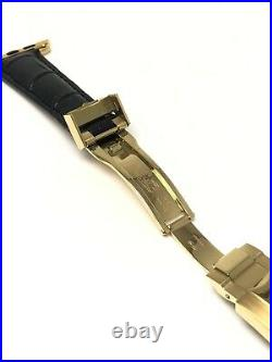 20mm Leather Band 24K Gold ROLEX Deployment buckle 44MM Apple Watch Band ONLY