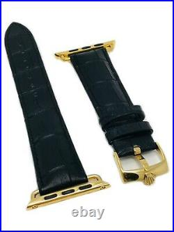 20mm Leather Band 24K Gold ROLEX buckle For 42MM or 44MM Apple Watch ONLY Band