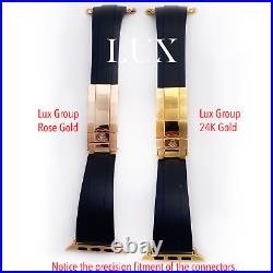 20mm Rubber Band 24K Gold ROLEX Deployment buckle 44MM Apple Watch Band ONLY