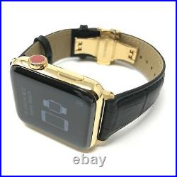 24K Gold Plated 42MM Apple Watch SERIES 3 With Black Leather Band CUSTOM