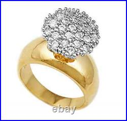 2CT. Diamond 10K Yellow Gold Fn 925 Silver Round Cluster Engagement Ring Sizable