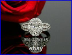 2.00Ct Oval Cut VVS1 Diamond Solitaire Engagement Ring 14K White Gold Finish