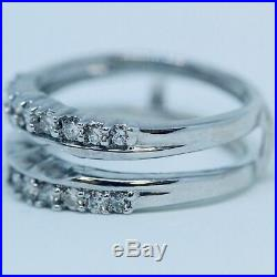 2.00 CT Solitaire Enhancer Guard Wrap Insert Ring Band 14K White Gold Over