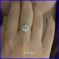 2.00 Carat Marquise Diamond Cluster Engagement Wedding Ring 14k Yellow Gold Over