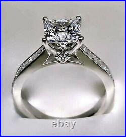 2.01Ct Princess cut Solitaire Diamond Engagement Ring Band Solid 14K White Gold