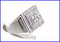 2.12 Ct Round Diamond Square Cluster Men's Ring Band In 14k White Gold Over