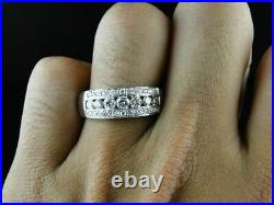 2.20 Ct Round Cut Diamond 14K White Gold Over Engagement Men's Pinky Ring Band