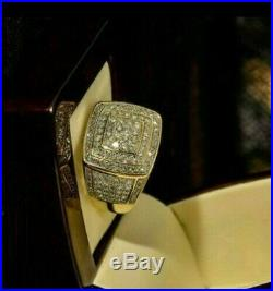2.50 CT Diamond Pinky Ring Men's 14k Yellow Gold Over Round Cut Engagement Band