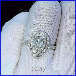 2.50ct Pear Solitaire Halo Moissanite Engagement Ring Band Solid 14k White Gold