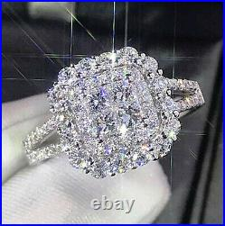 2.57ct Princess Cut Invisible Diamond Engagement Ring Band Solid 14k White Gold