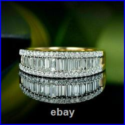 2.63Ct Baguette Diamond Channel set Wedding Band Solid 14K Yellow Gold