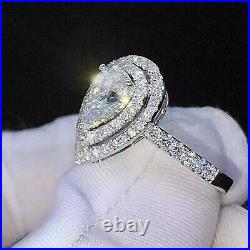 2.73ct Pear cut Solitaire Halo Diamond Engagement Ring Band Solid 14k White Gold