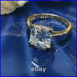 2.89Ct Asscher cut Solitaire Band Diamond Engagement Ring Solid 14K Yellow Gold