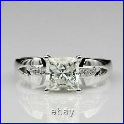 2. CT Princess Cut Diamond 14K White Gold Over Solitaire Men's Wedding Band Ring