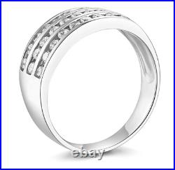 2 Ct Round Real 14k White Gold 3-Row Channel Set Wedding Anniversary Band Ring