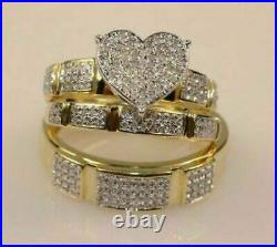 3.0 Ct Round Diamond 14k Yellow Gold Over His & Her Wedding Engagement Band Ring