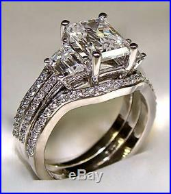 3.10Ct Radiant Cut Engagement Ring with 2 Matching Wedding Bands 14K Solid Gold