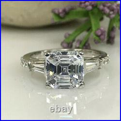 3.11 ct Asscher cut Solitaire Diamond Engagement Ring Band Solid 14k White gold