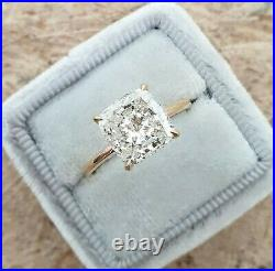 3.27ct Cushion cut Solitaire Diamond Engagement Ring Band Solid 14k Yellow Gold