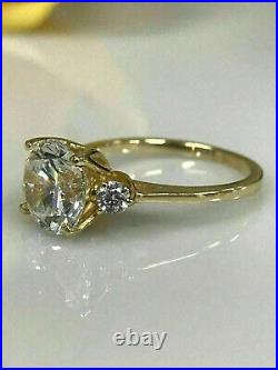 3.29ct Round Cut Solitaire Diamond Ring Engagement Band Solid 14k Yellow Gold