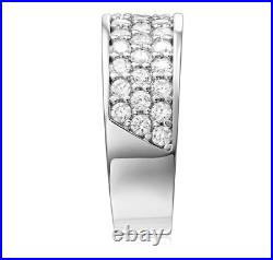 3.5 Ct Round Real 14k White Gold 3-Row Pavé 7.5mm Wedding Anniversary Band Ring