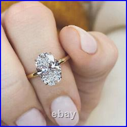 3.85Ct Oval cut Solitaire Band Diamond Engagement Ring Solid 14K Yellow Gold