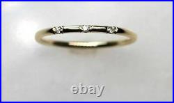3 Diamond 1.5mm Thin Band 14k Solid Gold Stackable Dainty Wedding Ring