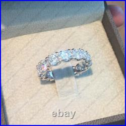 4.00 Tcw Round Cut Def Moissanite Eternity Wedding Ring Band 14k White Gold Over