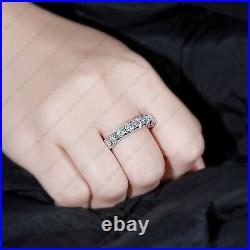 4.25 Tcw Round Cut Forever Moissanite Wedding Band Ring In 14k White Gold Finish