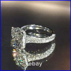 4.33ct Radiant cut Solitaire Diamond Engagement Ring Band Solid 14k White Gold