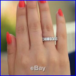5.50 Ct Emerald Cut Diamond Eternity Wedding Band Ring In 14k White Gold Over
