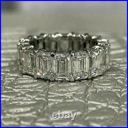 7.33ct Emerald cut Eternity Diamond Engagement Ring Band Solid 14k White gold