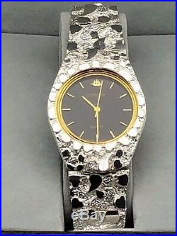 925 Sterling Silver Nugget Wrist Watch with Geneve Watch 8 Graduated Band